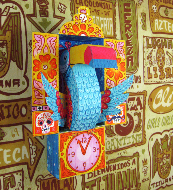 Tijuana Toucan Papercraft Clock
