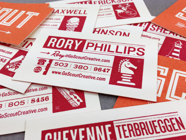 Scout business cards backs