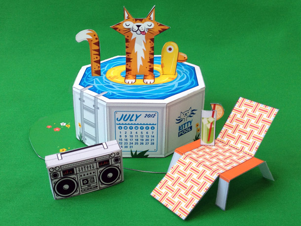 pool cat papercraft